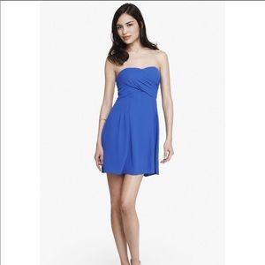 Express Strapless Blue Crepe Dress size 2